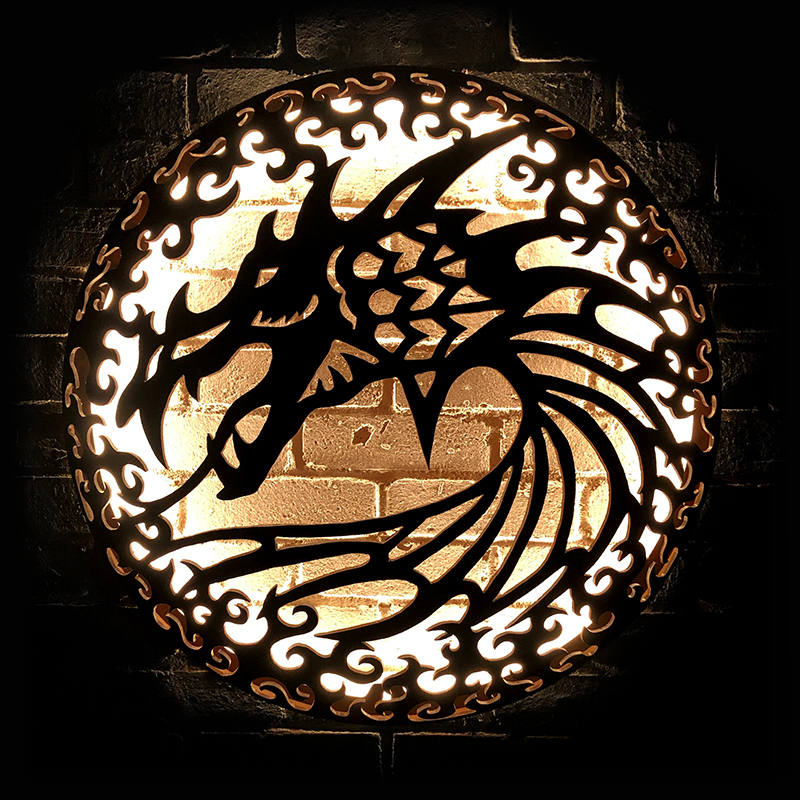 Dragon illuminated wall mount Andy Gage
