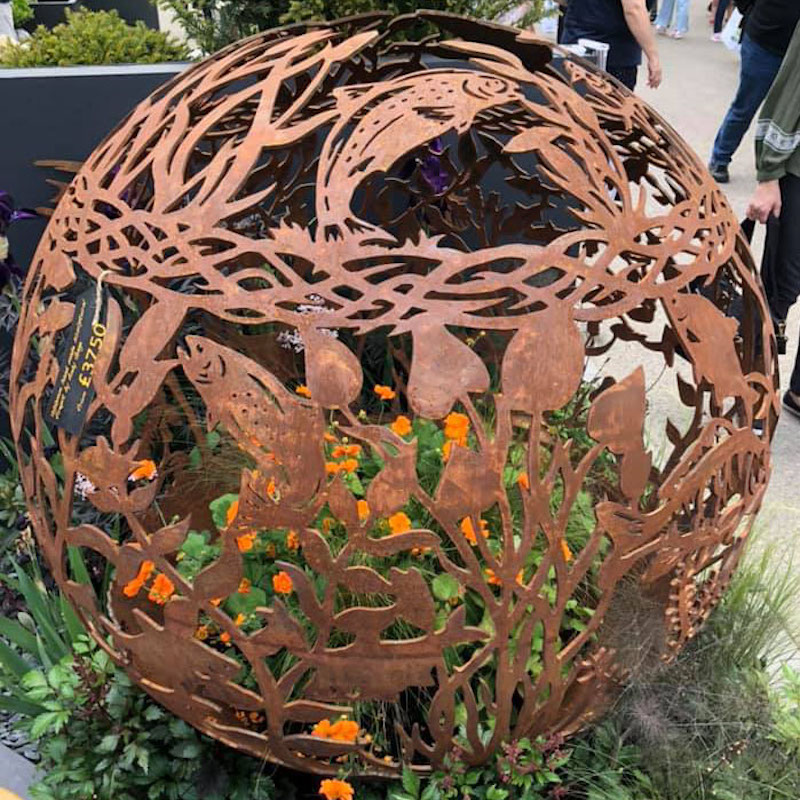 Fish Themed Firepit at The Chelsea Flower Show by The Firepit Company