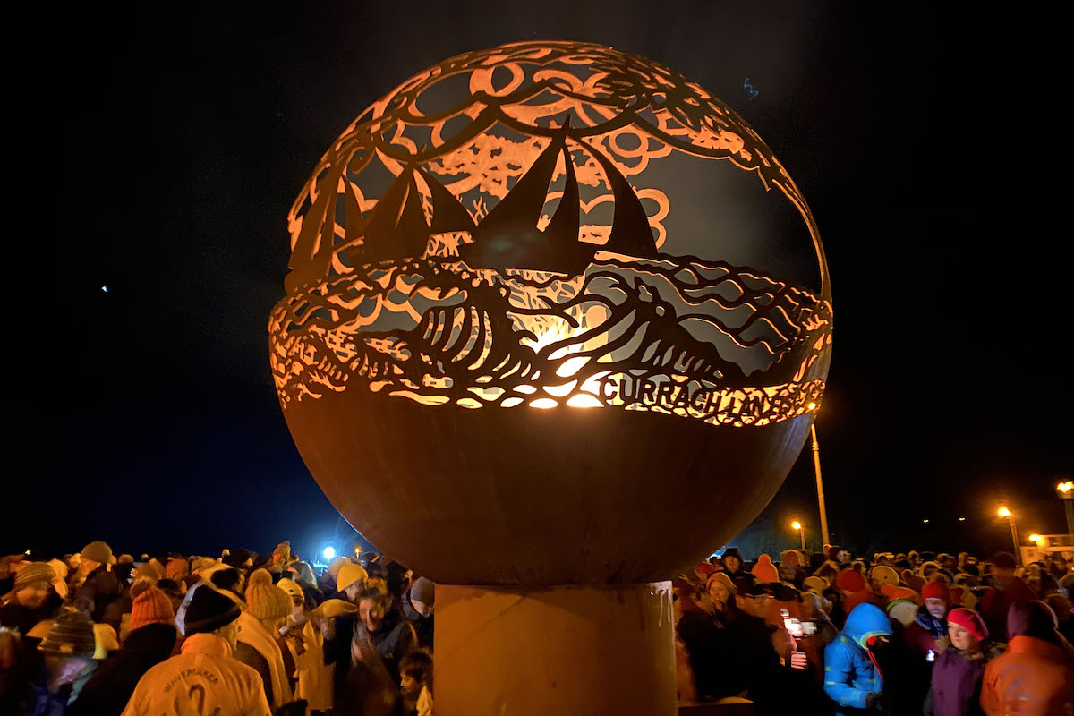 Galway City of Culture 2020 Fire Tour - 2000mm Bespoke Sphere. 1 of 7 unique spheres that formed part of a touring event to celebrate Galway as the 2020 European City of Culture.