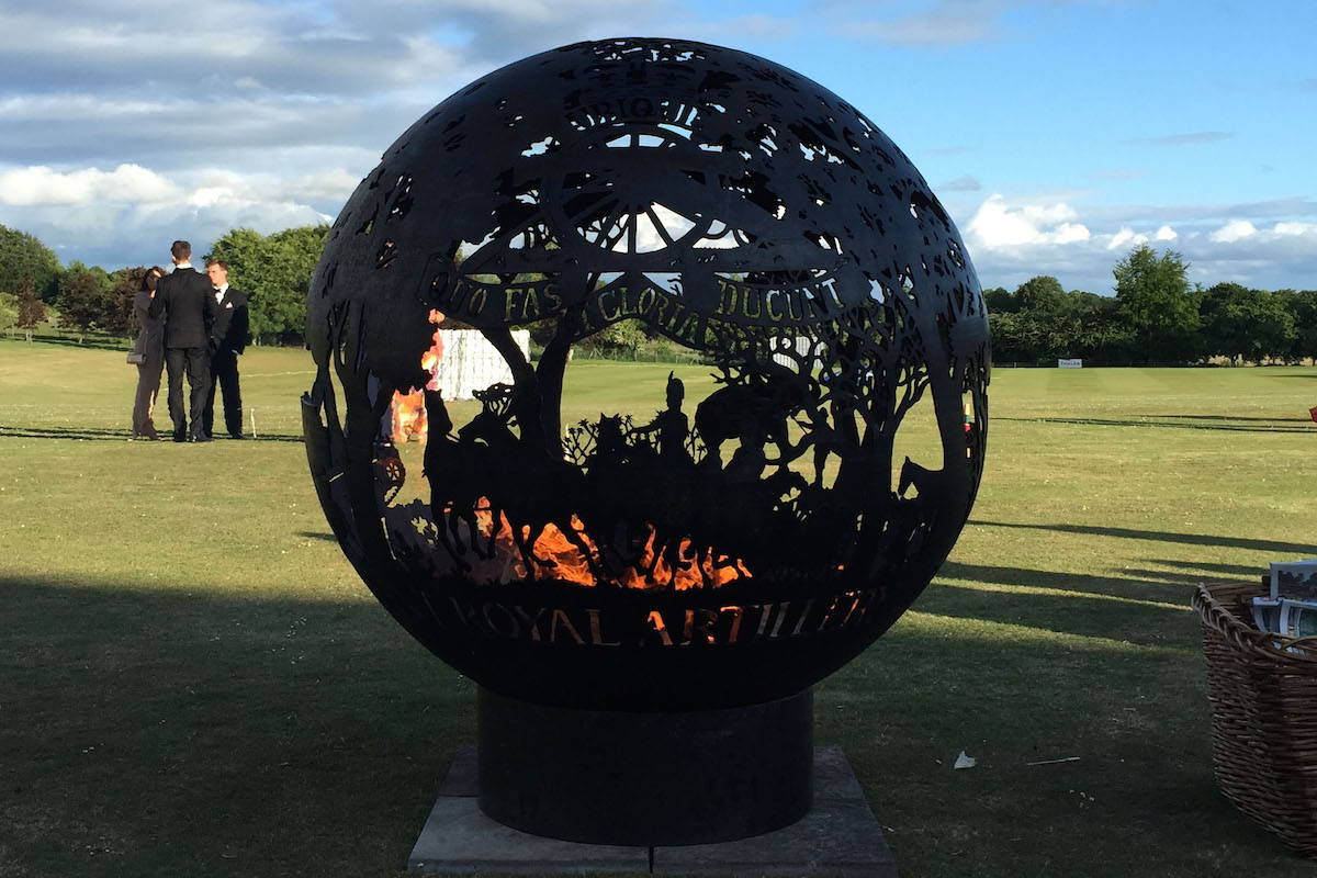 Royal Artillery Officers Mess - Bespoke 1400mm Firepit with Regimental badge and relevant imagery.